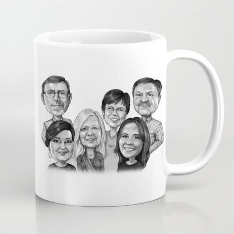 Hand Drawn Personalised Family Caricature Mug for Custom Gift - example