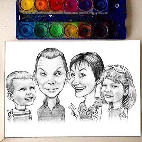 Family with Children Black and White Caricature from Photos Printed on Poster - example