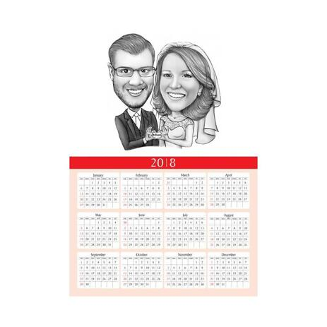 Bride and Groom Caricature on Calendar - example