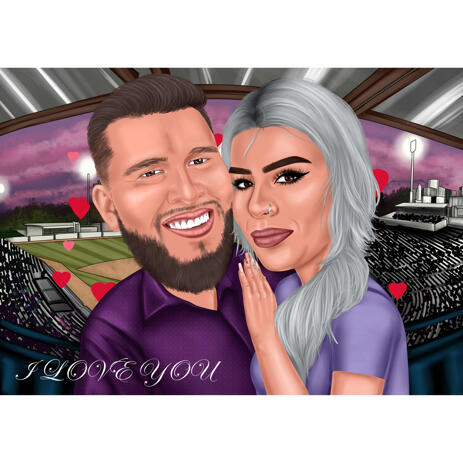 Couple Caricature Portrait with Stadium Background - example