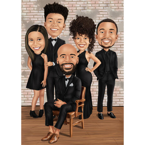 Family Caricature in Formal Clothing for Event - example