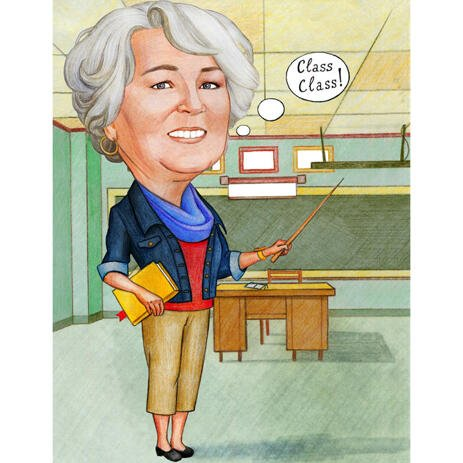 Teacher's Caricature Gift from Photos with Background - example