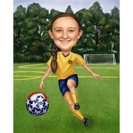 Football Caricature with Field Background
