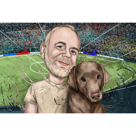 Owner with Dog - Watercolor Style Portrait with Custom Background - example