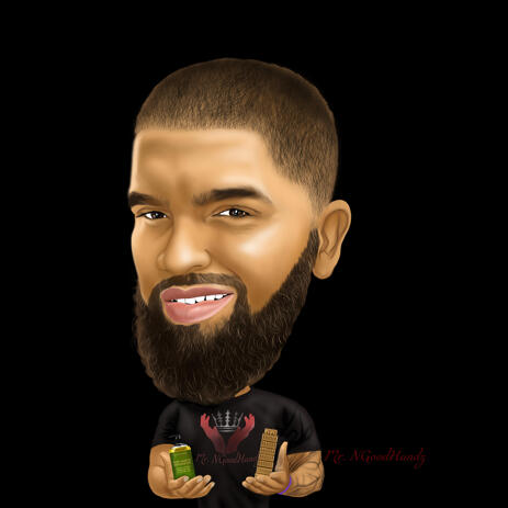 Barber Caricature in Colored Style on Black Background for Custom Barber Shop Logo - example