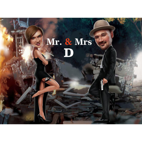 Mr. & Mrs. Couple Caricature from Photos with Custom Background - example