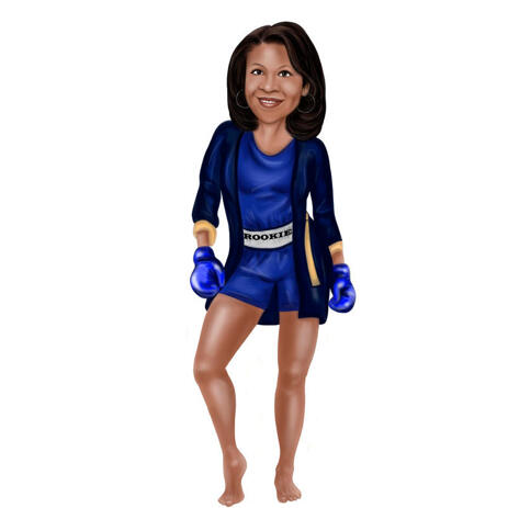 Woman Boxing Full Body Cartoon Portrait from Photo on White Background - example