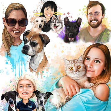 Ejer med hundekarikatur i naturlig akvarellestil - example