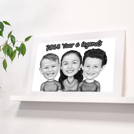Children Caricature Printed on Poster - example