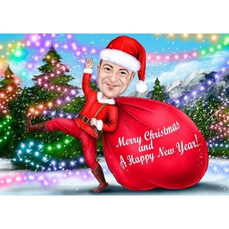 Full Body Person Christmas Caricature in the Snow with Decorating Christmas Tree Electrifying for Xmas Gift Card - example