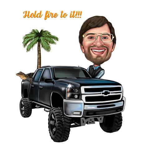Benutzerdefinierte Karikatur des fahrenden Autos im übertriebenen Zeichenstil - example