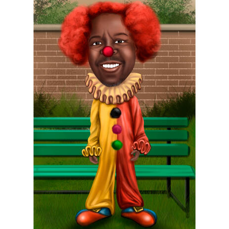 Full Body Colored Style Person in Circus Clown Costume Cartoon Drawing with Custom Background - example