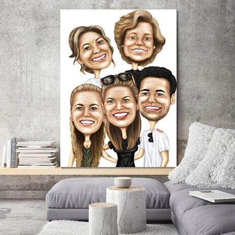 Canvas Print: Group Digital Caricature Portrait from Photos on White Background - example