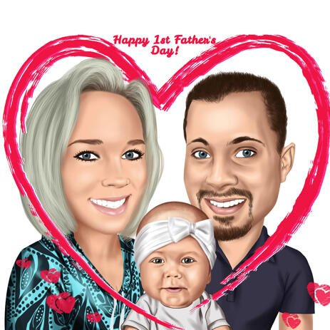 Happy First Father's Day Caricature Gift - example