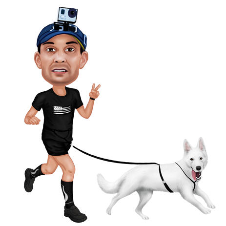Owner with Pet Jogging Caricature in Colored Style from Photos - example