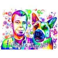 Person mit Deutschem Schäferhund-Porträt im Aquarellstil von den Fotos