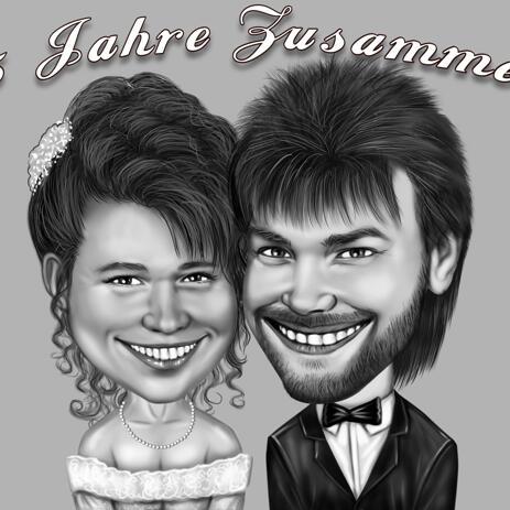 Dessin de couple de mariage dessin dans un style numérique noir et blanc - example