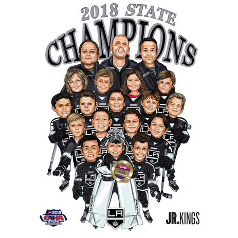 Hockey Champions Team Group Caricature in Color Style from Photos - example