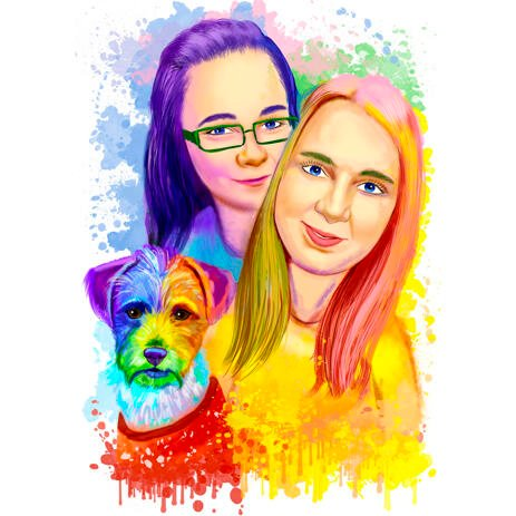 Two Persons with Pet Rainbow Watercolor Caricature from Photod - example