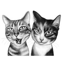 Cats Cartoon Caricature Portrait in Black and White Style from Photos