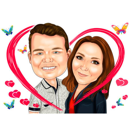 Valentine's Day Couple in Heart Caricature Gift with Butterflies Background - example