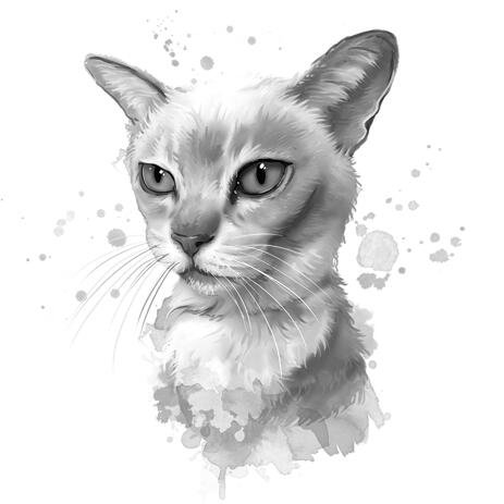 Graphite Cat Portrait from Photos in Watercolor Style - example