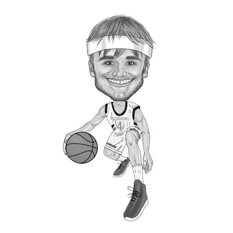 Basketball Player Caricature in Black and White Style Hand Drawn from Photo - example