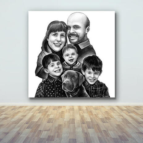 Print on Canvas: Family with Pet Cartoon from Photos Hand Drawn in Black and White Style - example