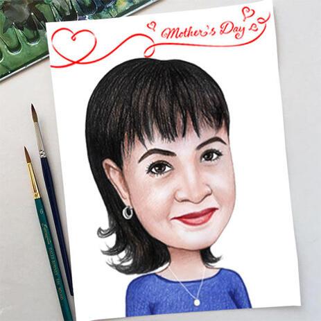 Bleistift-Zeichnung: Cartoon-Zeichnung der benutzerdefinierten Frau vom Foto - example