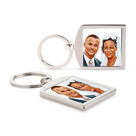 Bride and Groom Caricature as Wedding Gift on Keyrings - example