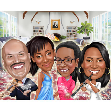 Musical Family Caricature for Music Lovers - example