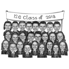 School Class Caricature Portrait of All Classmates