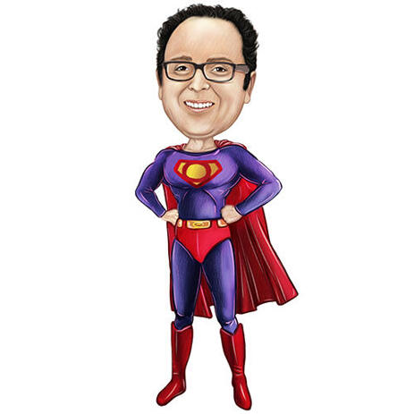 Superhero karikatuuri joonistus kui riputatud rinnus mis tahes logoga - example