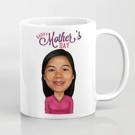 Photo Mug Print: Wrap-around Print on Mug with Your Mother Cartoon Drawing - example