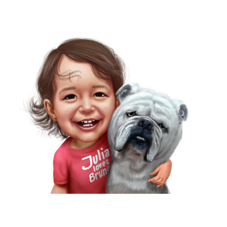Kid with Bulldog Colored Caricature Drawing from Photos - example
