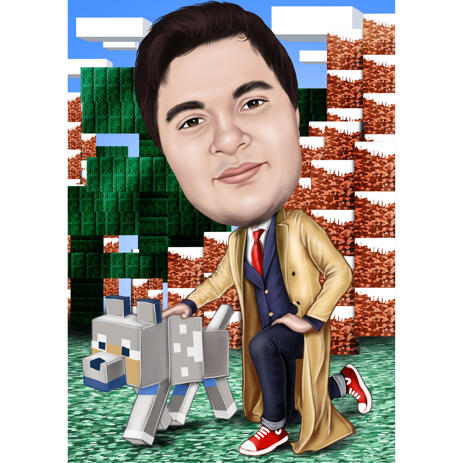 Custom Full Body Caricature for Minecraft Lovers - example