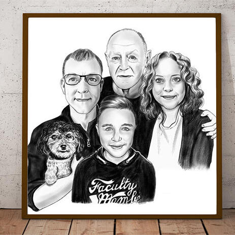 Custom Family with Dog Portrait Hand Drawn in Black and White Style as Poster Gift - example