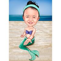 Caricature d'enfant en tant que personnage de sirène à partir de photos