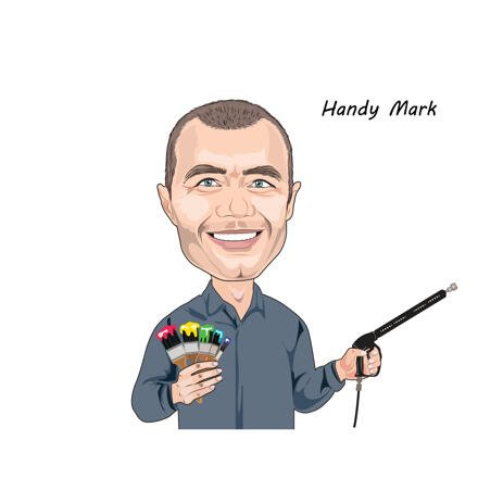 Caricature Logo Person Cartoon Portrait from Photo for Handyman Business - example