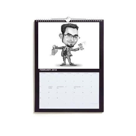 Calendar with Business Caricature - example