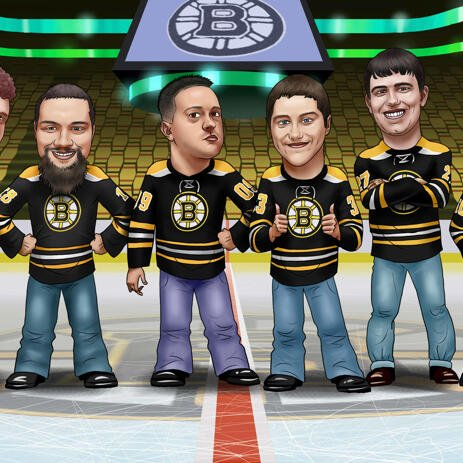 Hockey Groomsmen Gift Cartoon from Photos - example