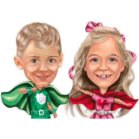Superhero Children Caricature Portrait from Photos as Any Character - example