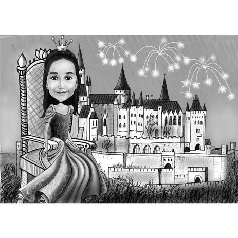 Retrato de dibujos animados de niña princesa en estilo de cuento de hadas con fondo de castillo - example