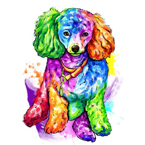 Colorful Watercolor Full Body Poodle Caricature Art from Photos - example