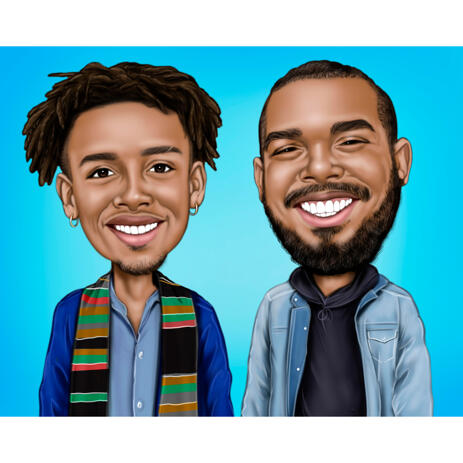 Brothers Cartoon Caricature from Photos on Blue Background as Custom Gift - example