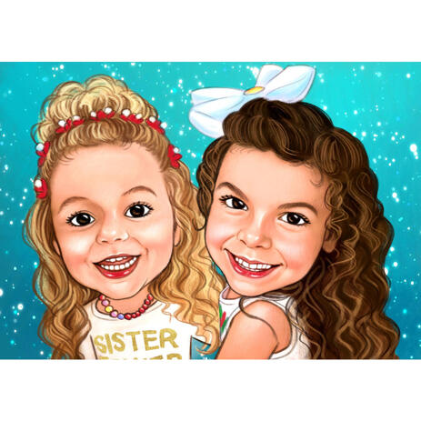 Baby Girls Caricature Portrait from Photos with Colored Background - example