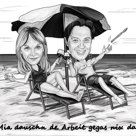 Couple Caricature on Vacation in Black and White Pencil Style with Beach Background - example