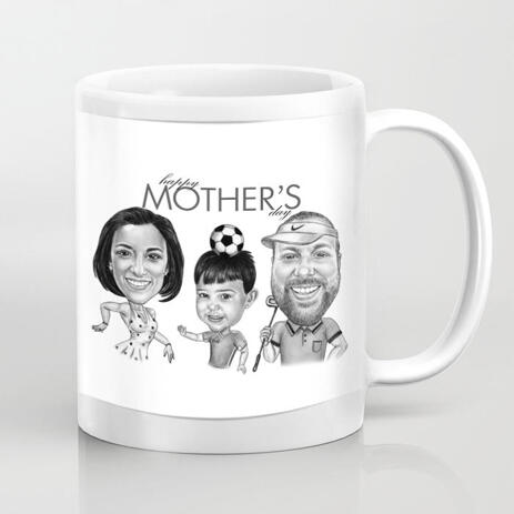 Custom Sport Family Cartoon Portrait for Happy Mother's Day Caricature Mug Gift - example