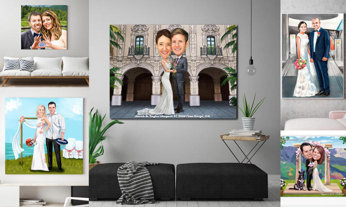 Wedding Caricature Canvas large example