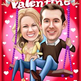 Be My Valentine - Couple Valentines Caricature from Photos